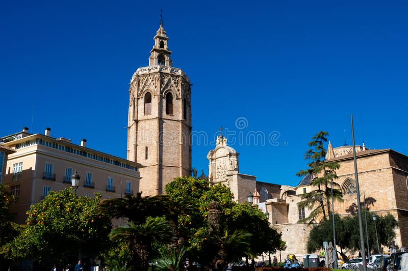 Bell Tower of the Valencia Cathedral royalty free stock images