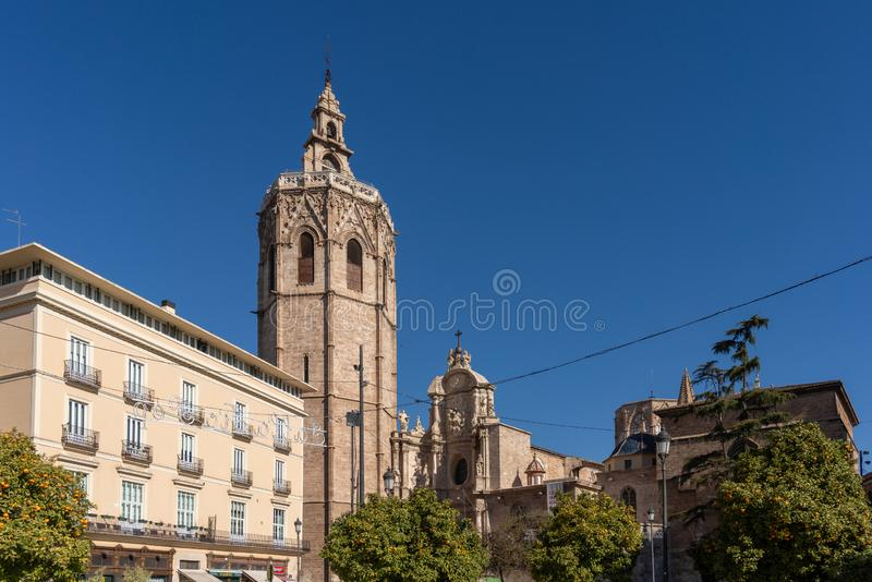 El Micalet Tower of the Cathedral in Valencia Spain on February 27, 2019 royalty free stock photography