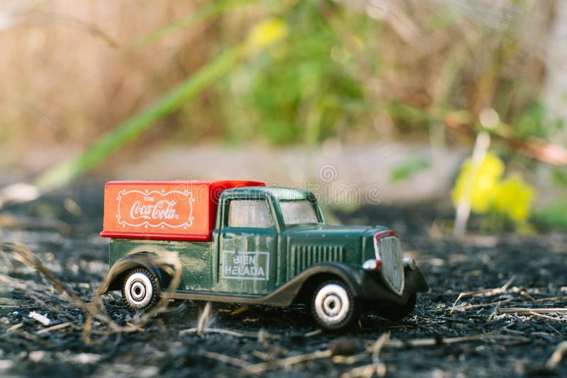 Valencia - Spain, February 13, 2019: old toy truck with coca cola logo on unfocused background royalty free stock image