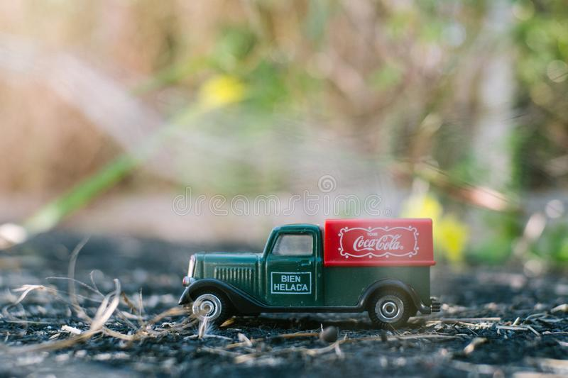 Valencia - Spain, February 13, 2019: old toy truck with coca cola logo on unfocused background stock images