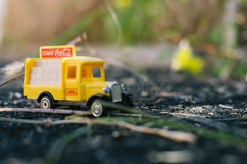 Valencia - Spain, February 13, 2019: old toy truck with coca cola logo on unfocused background stock photo