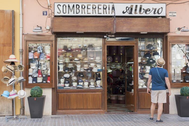 Valencia,Spain. Hat shop, sombrereria albero, historic center of Valencia,Spain stock images