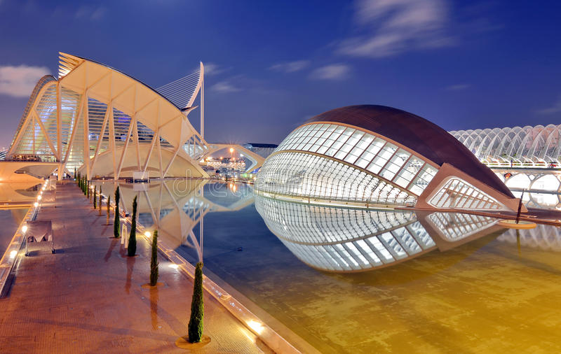 City of Arts and Sciences in Valencia, Spain. City of Arts and Sciences at sunset in Valencia, Spain royalty free stock photo