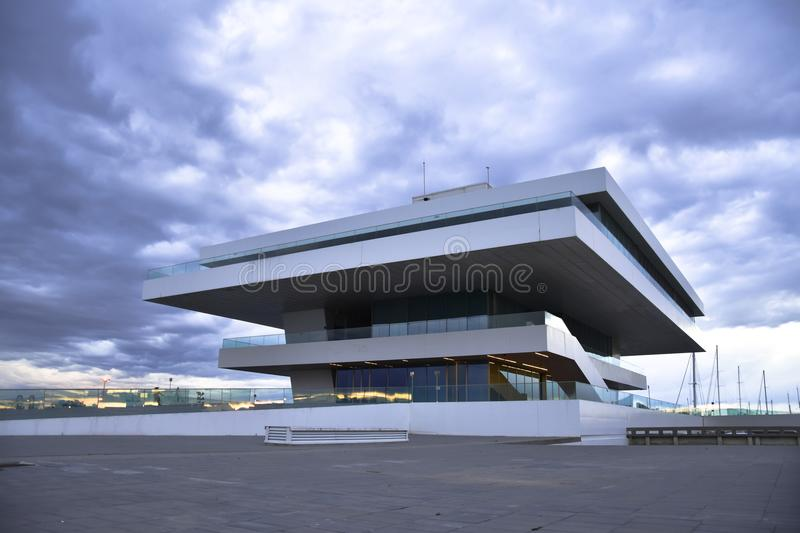 VALENCIA, SPAIN - JANUARY 20, 2016: The Fodereck Building in the port of Valencia. Home of the 33rd America`s Cup sailing event. February 8, 2010, by the royalty free stock photography