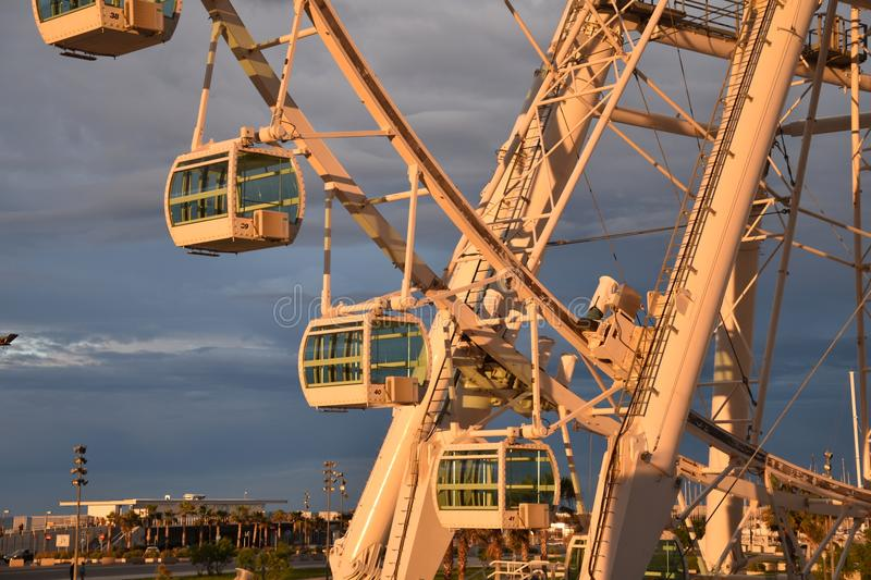 VALENCIA, SPAIN JULY 5, 2015: close-up of the Giant Ferris Wheel in the port of Valencia, Spain.  stock photos