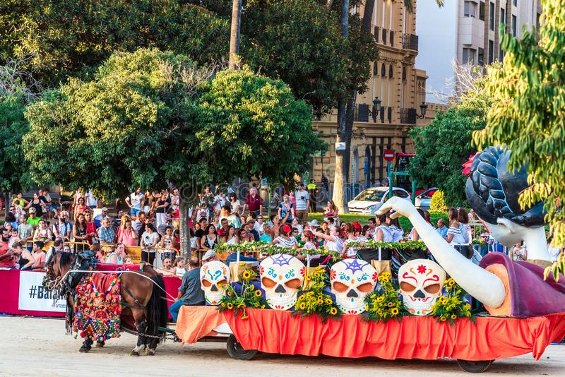 Valencia, Spain, July 2019. Flower battle, platform mexican holiday Santa Muerte royalty free stock images