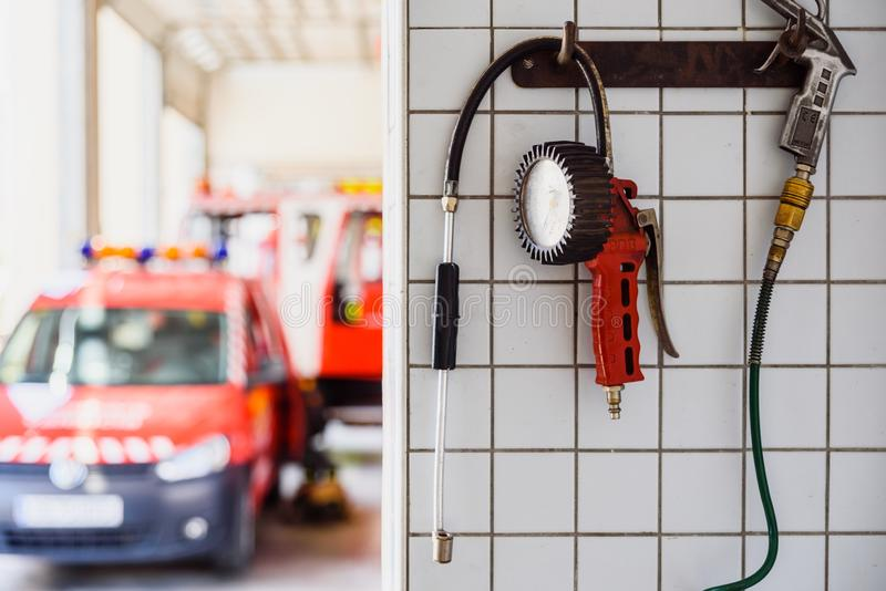 Valencia, Spain - June 8, 2019: Manometer to inflate the wheels of emergency vehicles of a fire station stock photos