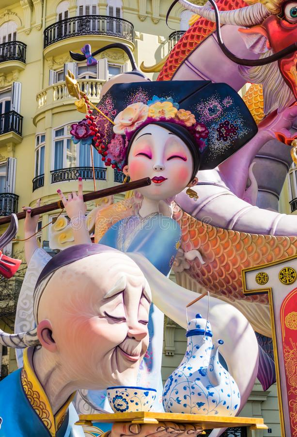 Las Fallas Festival giant paper mache sculptures in streets of Valencia, Spain. royalty free stock photo