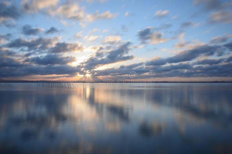 Sunset at the viewpoint of the Albufera of Valencia stock photos