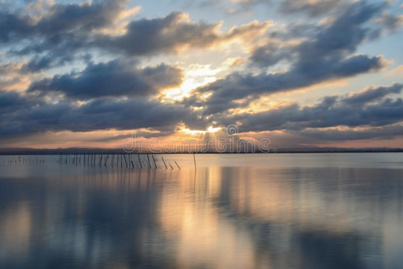 Sunset at the viewpoint of the Albufera of Valencia stock photography