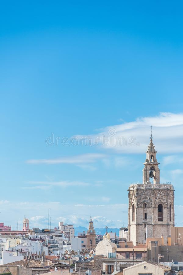 Valencia, Spain. Micalet tower and Cathedral stock photography