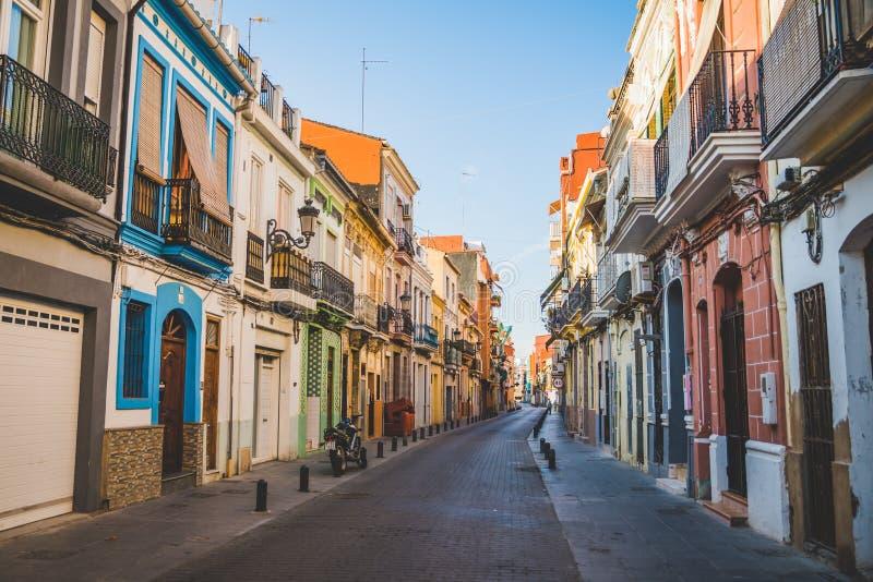 Valencia, Spain - 05.18.2018: Narrow streets of El Cabanyal. Neighbourhood in Valencia stock images
