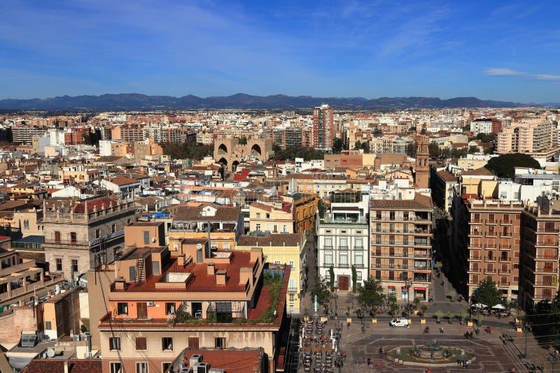VALENCIA, SPAIN - NOVEMBER 27, 2018: Panoramic aerial landscape view of Valencia. royalty free stock photos