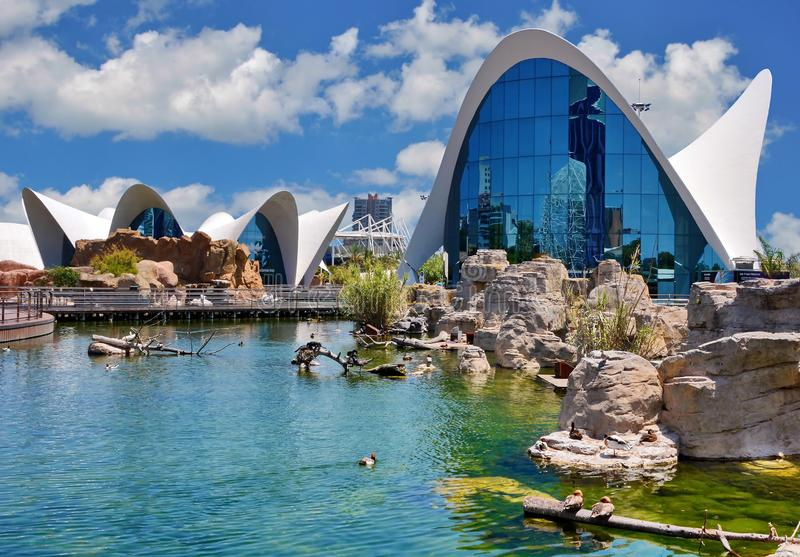 Valencia, Spain. Oceanographic, oceanografic, modern building in Valencia, Spain royalty free stock images