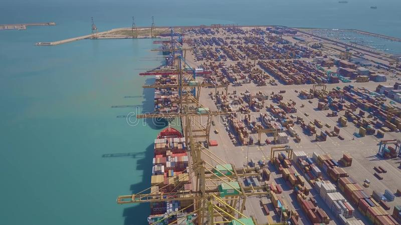 VALENCIA, SPAIN - OCTOBER 2, 2018. Aerial view of big port container terminal. VALENCIA, SPAIN - OCTOBER 2, 2018. Aerial view of port container terminal royalty free stock photo