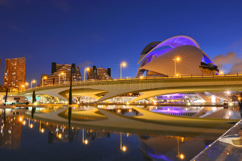 Valencia, Spain. City of Arts and Sciences at sunset in Valencia, Spain royalty free stock photos