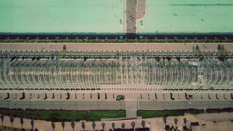 VALENCIA, SPAIN - SEPTEMBER 22, 2018. Aerial top-down shot of famous L`Umbracle passage. VALENCIA, SPAIN - SEPTEMBER 22, 2018. Aerial top-down shot of famous L` royalty free stock photography