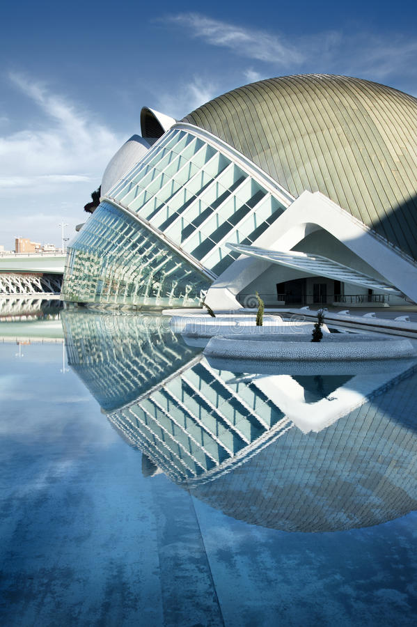 VALENCIA, SPAIN - SEPTEMBER 21: City of Arts and Sciences (an ex. Ample of modern architecture built by famous architect Santiago Calatrava) on September 21 stock photography