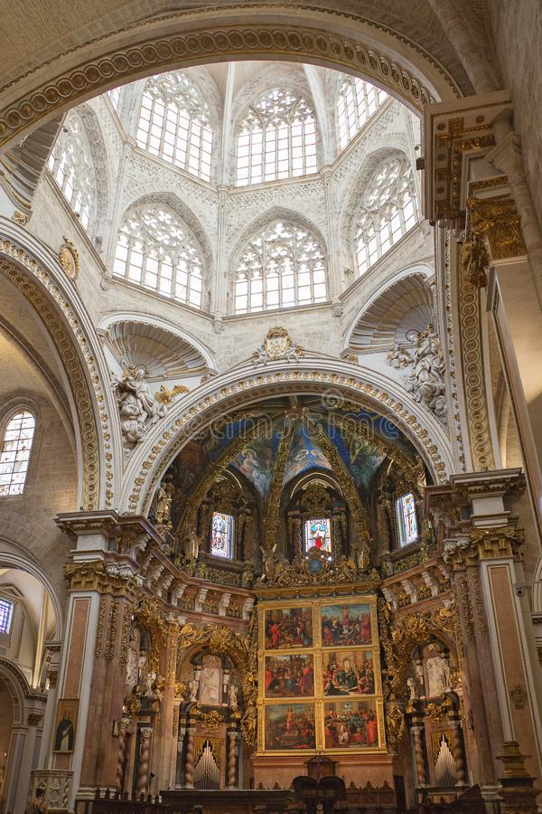 Valencia Cathedral interior stock images