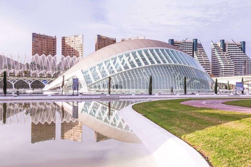 Valencia, Spanien am 1. Dezember 2016: Stadt von Künsten und von Wissenschaft stockfotos