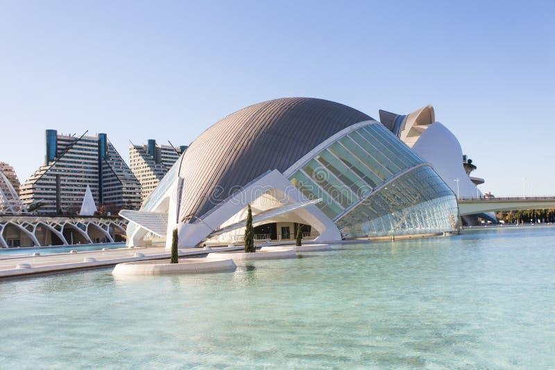Valencia, Spanje, Januari, 01, 2018, Hemisferic-de bouw in Stad van Kunsten en Wetenschappen in Valencia, Spanje royalty-vrije stock afbeelding