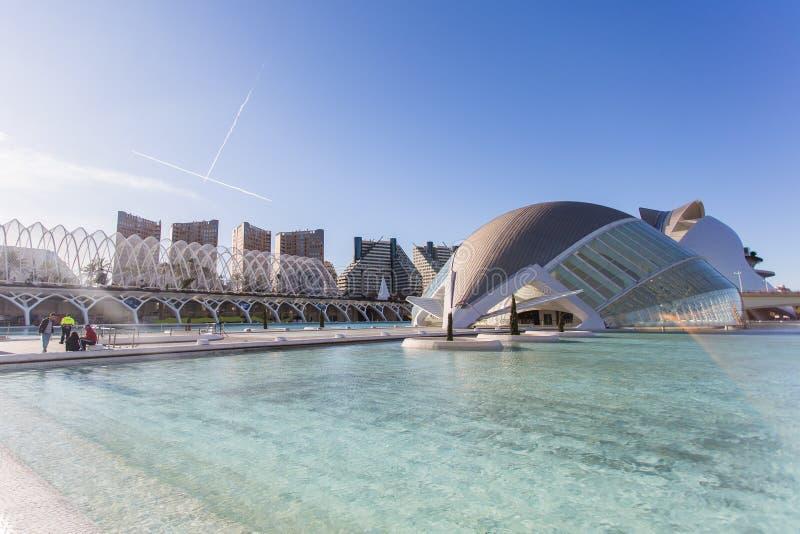 Valencia, Spanje, Januari, 01, 2018, Hemisferic-de bouw in Stad van Kunsten en Wetenschappen in Valencia, Spanje royalty-vrije stock fotografie
