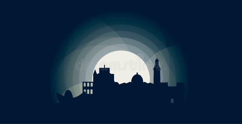 Valencia-Stadtskylineschattenbildvektor-Logoillustration vektor abbildung