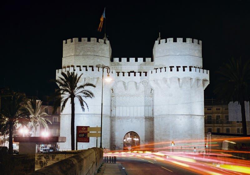 Valencia, torres de Serrano imagenes de archivo