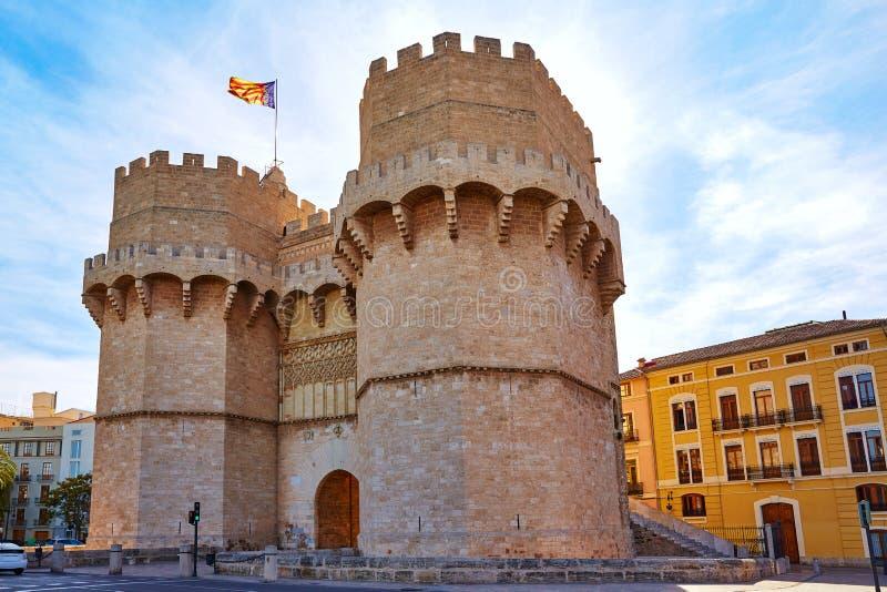Valencia Torres de Serranos Tower royaltyfri bild