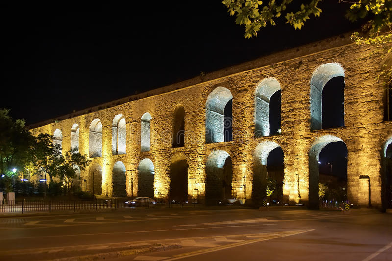 The Valens Aqueduct in Istanbul at night. Turkey royalty free stock images