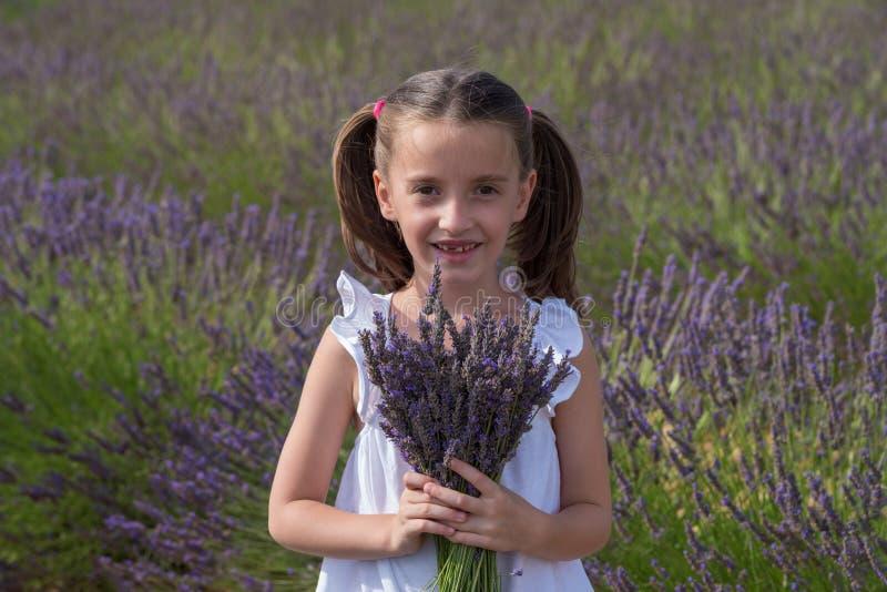 Valensole, Frankrijk Meisje op lavendelgebied royalty-vrije stock afbeeldingen