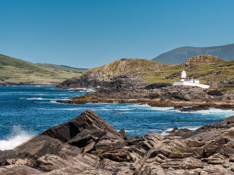 Valentia Island Lighthouse en Irlanda occidental fotografía de archivo