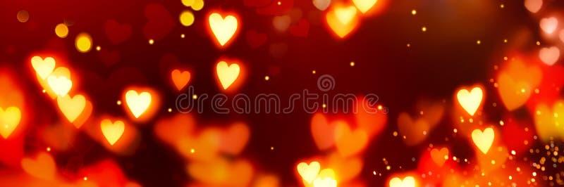 Valentijnsdag Banner Achtergrond Holiday Blinking Abstract Background met Ggloed Hearts Liefdesymbool, kopieerruimte stock foto