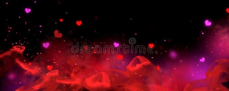 Valentijnsdag rode en zwarte achtergrond Holiday Blinking Abstract Valentine Backdrop met gloeiende harten Heart Shape Bokeh vector illustratie