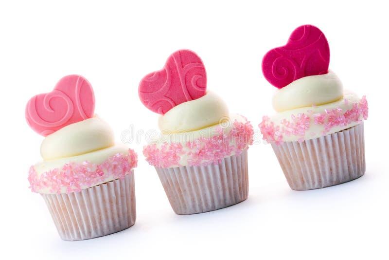 Valentijnskaart cupcakes stock foto