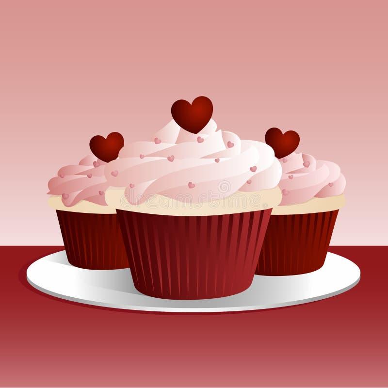Valentijnskaart Cupcakes vector illustratie