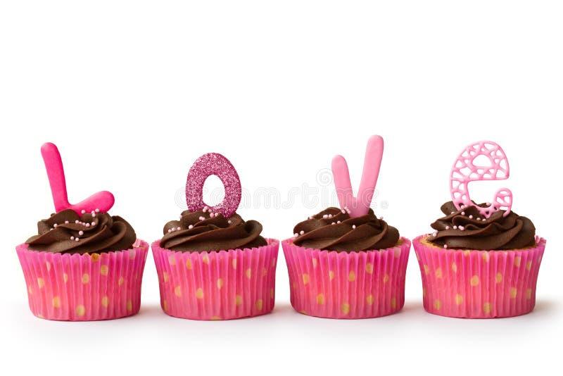 Valentijnskaart cupcakes stock fotografie