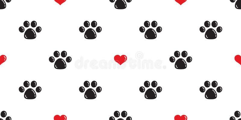 Valentijnskaart van het het patroon isoleerde de vectorhart van hondpaw seamless Cat Paw-het behang van het achtergrond voetafdru stock illustratie