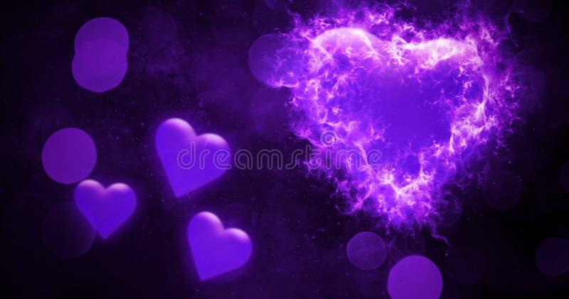 Valentijnskaarten bokeh abstracte achtergrond met de kleurrijke harten van de brandbrandwond De kaart van de liefde De vlieger of vector illustratie