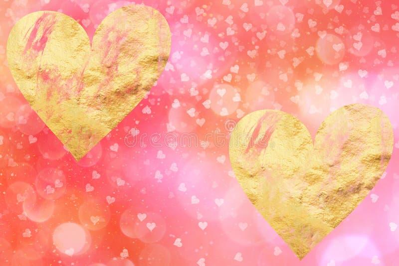 Valentijnskaarten sociale media achtergrond met gouden harten royalty-vrije stock afbeeldingen