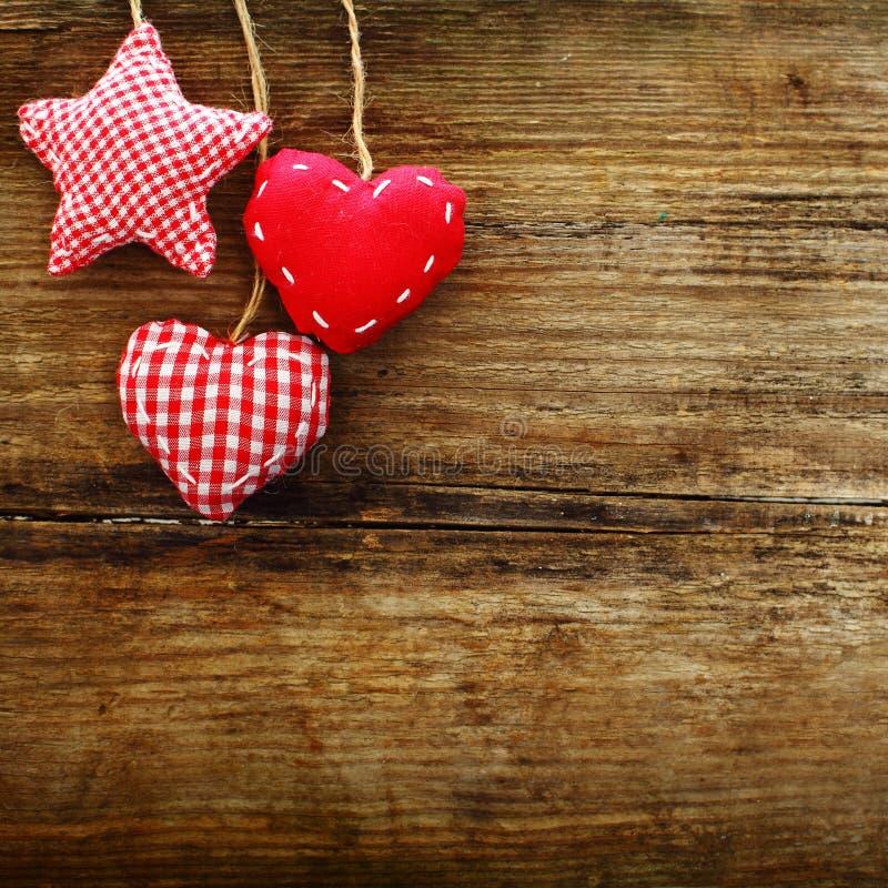 Valentijnskaarten uitstekende harten, retro achtergrond royalty-vrije stock foto