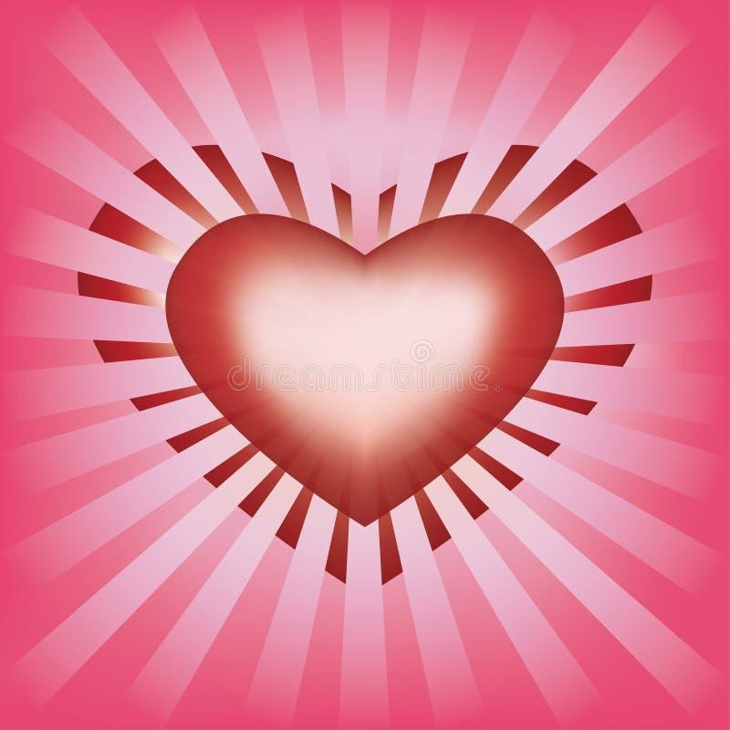 Valentijnskaartenachtergrond met hart en stralen stock illustratie