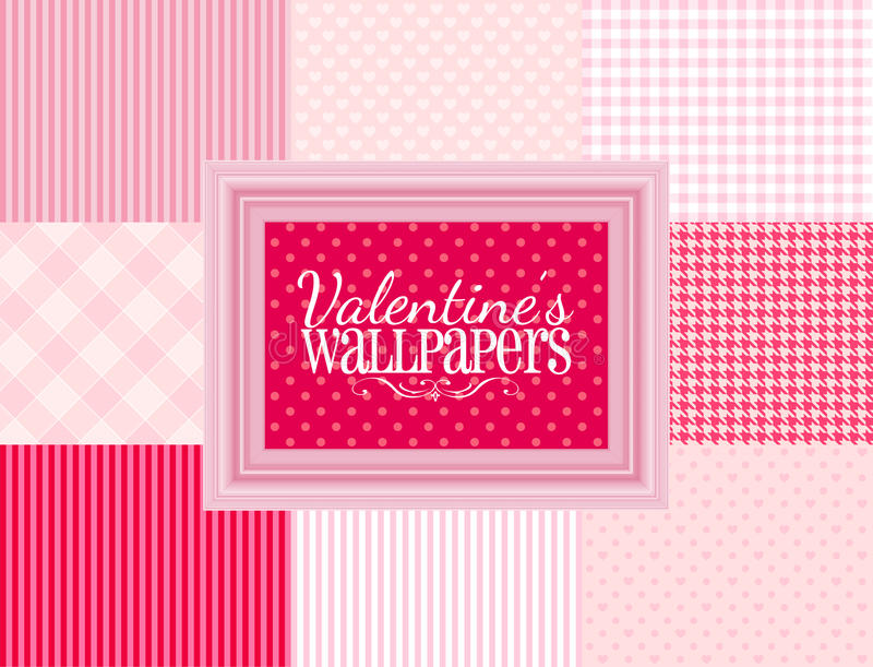 Valentijnskaartenbehang stock illustratie