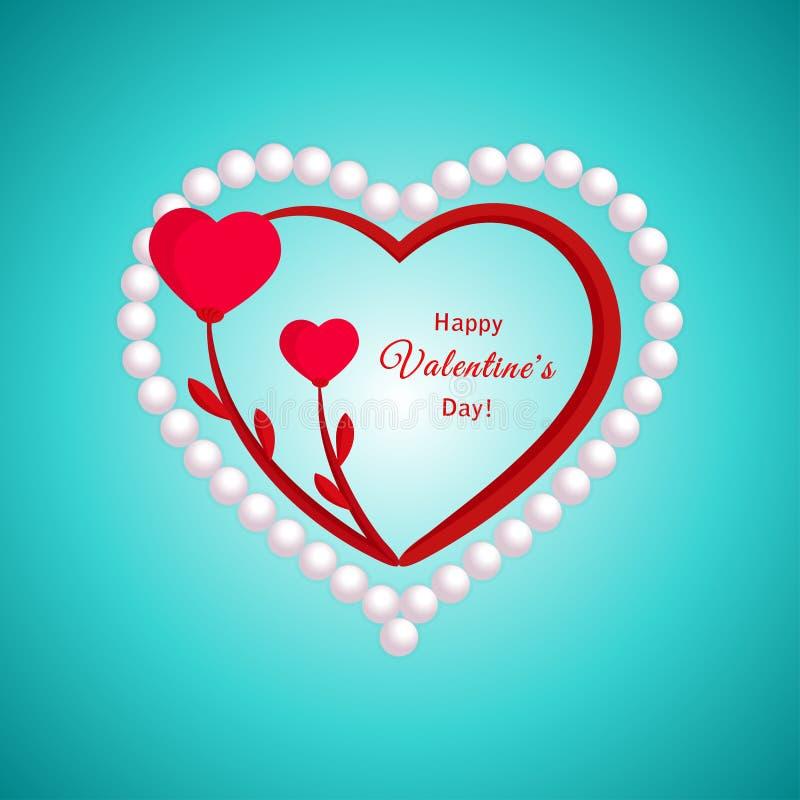 Valentijnskaartendag, bloemharten en parel vector illustratie
