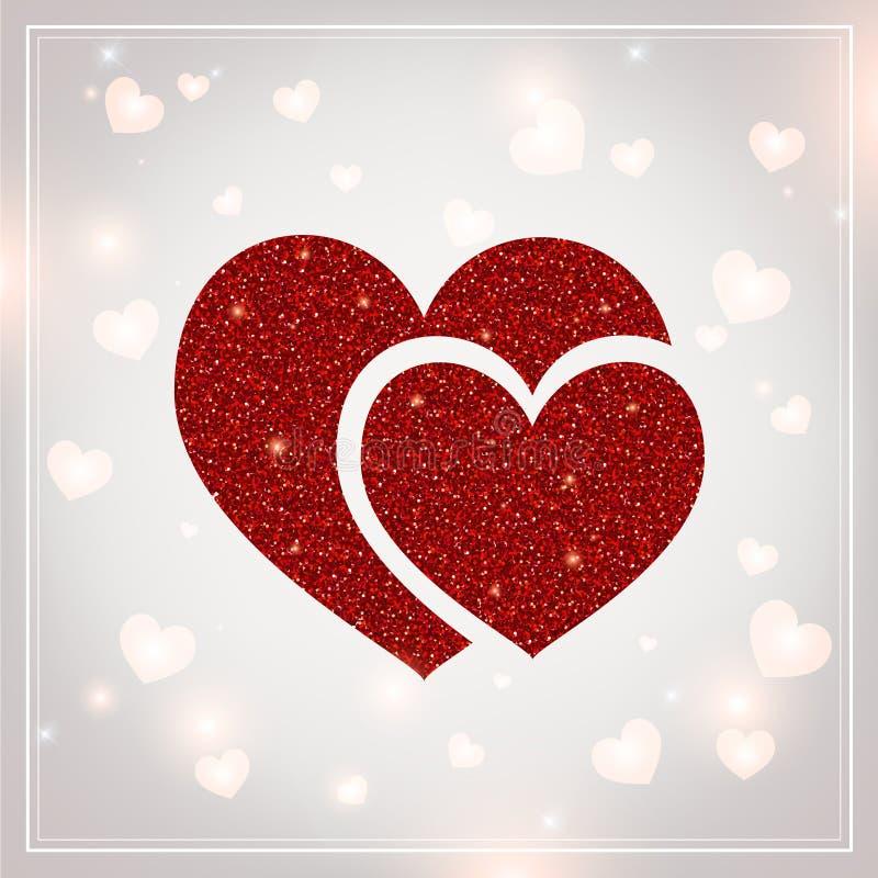 Valentijnskaartendag - de vectorgroetkaart met schittert rode harten op glanzende achtergrond stock illustratie