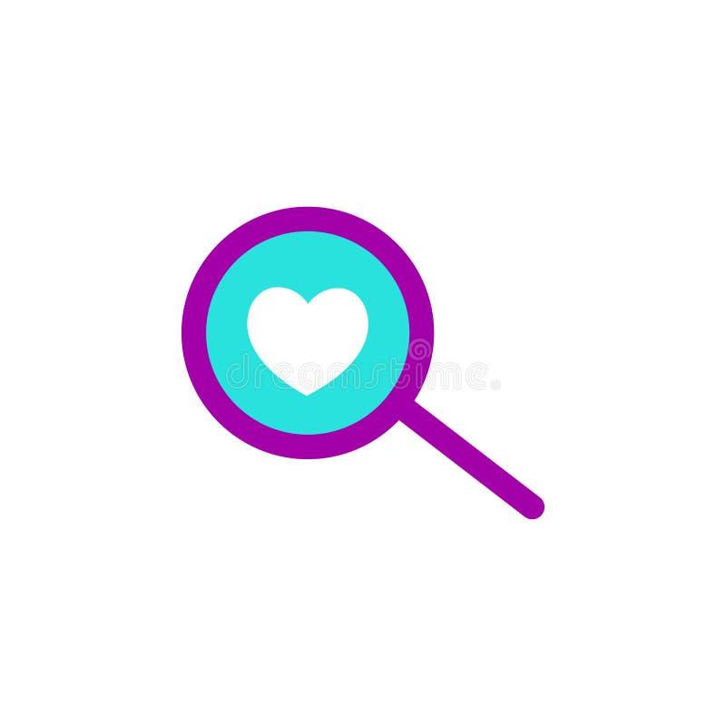 Valentijnskaartendag, het pictogram van de onderzoeksliefde Element van de dagpictogram van Webvalentine voor mobiele concept en  vector illustratie