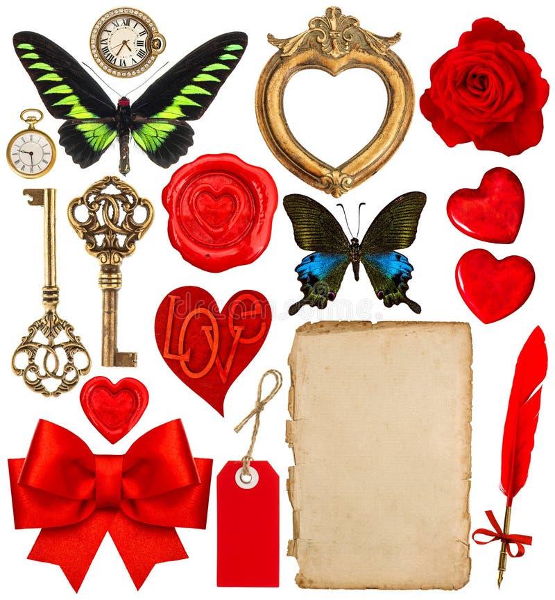 Valentijnskaartendag het scrapbooking Rode harten, fotokader, document royalty-vrije stock afbeelding