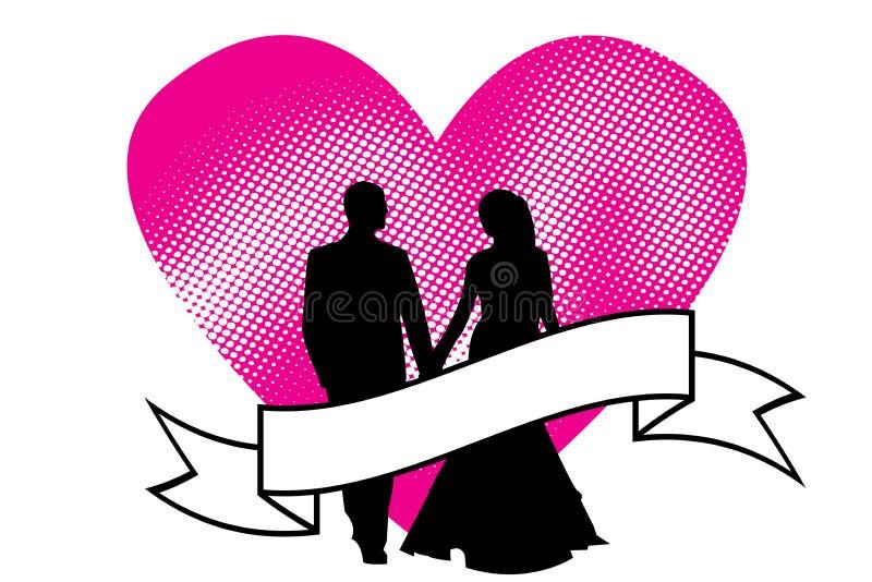 Valentijnskaartendag, Romantische liefdesymbolen 14 februari stock illustratie