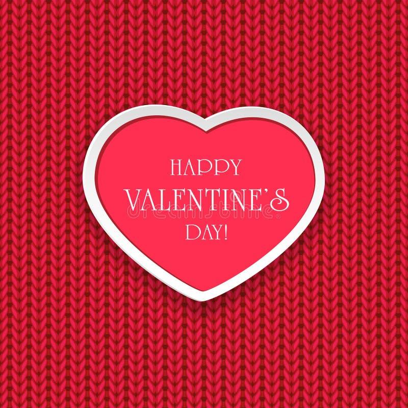 Valentijnskaartenhart op gebreid patroon vector illustratie