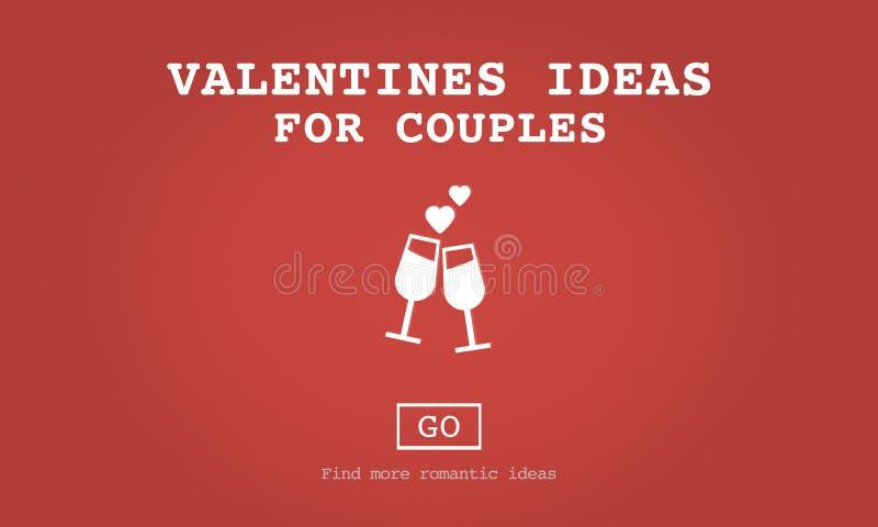 Valentijnskaartenideeën voor Toost die van de Paren de Romaanse Liefde Concept dateren vector illustratie